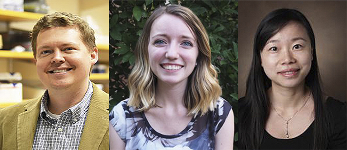 Headshots of (left-to-right) Dylan Burnette, wearing a gold colored jacket; Abigail Neiniger, wearing a blue, floral top; and Qi Liu, wearing a black top and necklace.