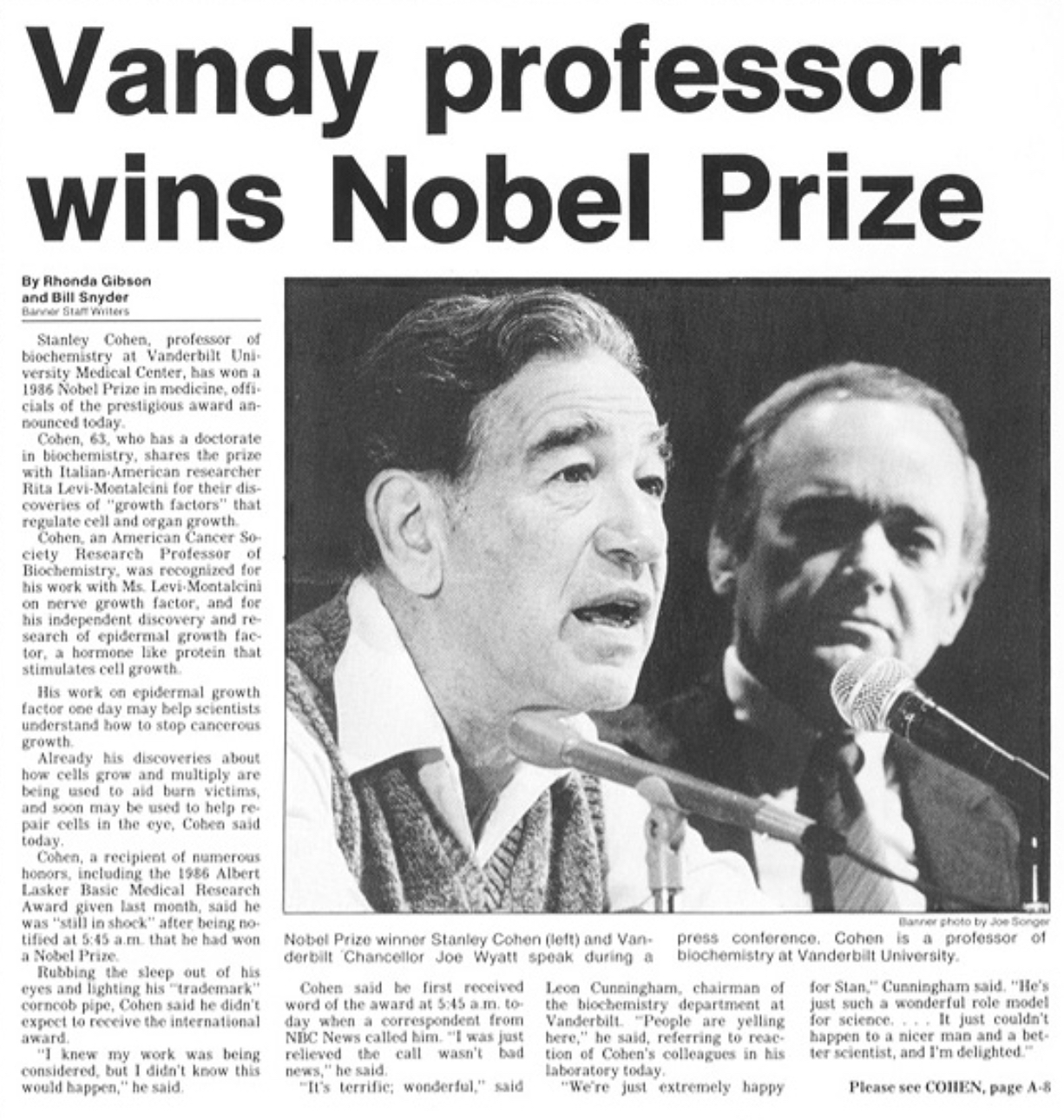News article of Stanley Cohen winning Nobel Prize featuring a black-and-white photo of Dr. Cohen (left) and Vanderbilt Chancellor Joe Wyatt (right).