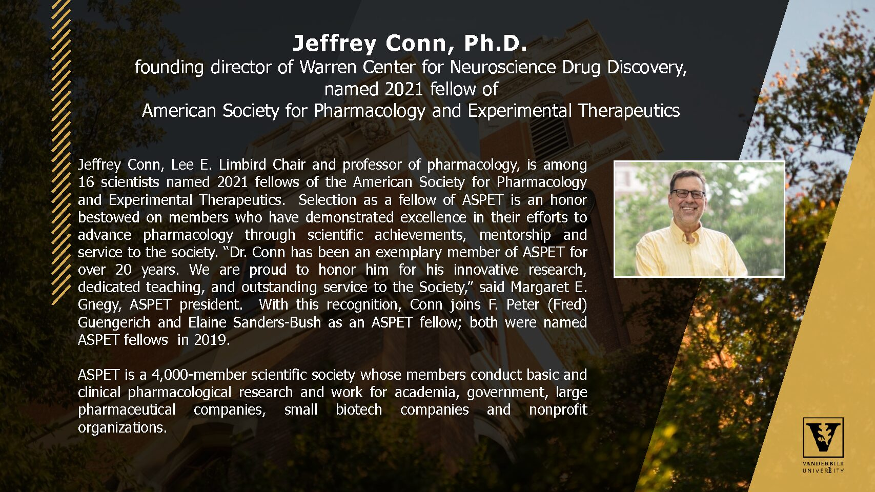 Jeffrey Conn, Ph.D. Named 2021 ASPET Fellow